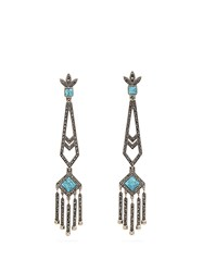 Valentino Embellished Drop Earrings Blue