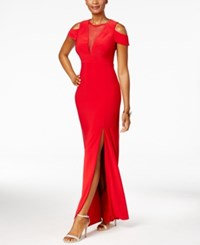 Nightway Illusion Mesh Cold Shoulder Gown Red