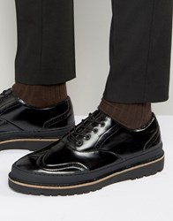 Pull And Bear Pullandbear Brogues With Stacked Rubber Sole In Black Black
