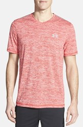 Men's Under Armour 'Ua Tech' Loose Fit Short Sleeve V Neck T Shirt Red Steel