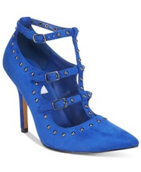 Chelsea And Zoe Haddie T Strap Pointed Pumps Women's Shoes Royal Blue