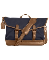 Cole Haan Waxed Canvas Messenger Bag Marine Blue