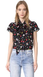 Marc Jacobs Button Flutter Sleeve Top Black Multi