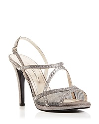 Caparros Strappy Sandals Rhinestone High Heel Mercury