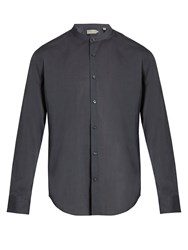 Vince Band Collar Cotton Shirt Charcoal