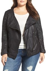 Lucky Brand Plus Size Women's Mixed Media Moto Jacket