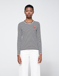 Comme Des Garcons Red Heart Play Striped T Shirt Black White