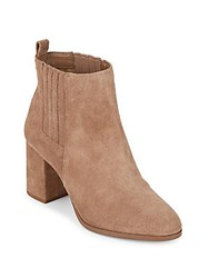 Saks Fifth Avenue Lafayette Suede Block Heel Booties Wheat