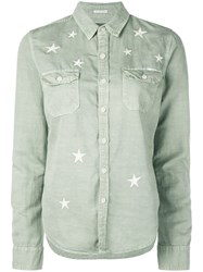 Mother Star Embroidered Cargo Shirt Green