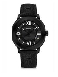 Fendi Selleria Black Stainless Steel Leather And Alligator Strap Watch
