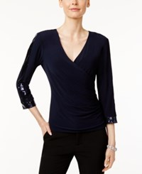 Msk Sequined Faux Wrap Top Navy
