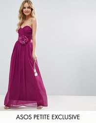 Asos Petite Wedding Chiffon Bandeau Maxi Dress With Corsage Pink