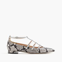 J.Crew Caged Flats In Snakeskin Printed Leather Ivory Black