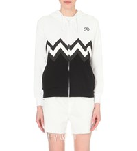 Mini Cream Zigzag Print Cotton Jersey Hoody Whx