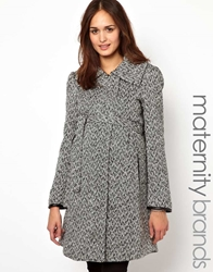 Mama.Licious Mamalicious Tweed Belted Smart Coat Blackwhite