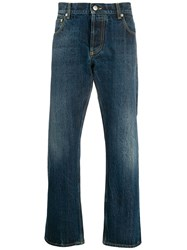 Alexander Mcqueen Cropped Straight Leg Jeans Blue