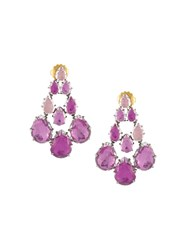 Larkspur And Hawk 'Caterina' Chandelier Earrings Pink And Purple