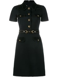Gucci Military Style Shirt Dress Black