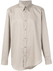 Martine Rose Asymmetric Striped Button Down Shirt Nude And Neutrals