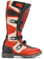 Balenciaga Rider Moto Boots Leather Polyester Rubber Red