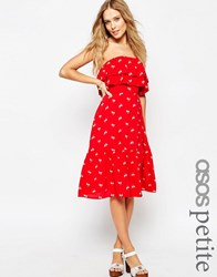 Asos Petite Frill Bandeau Sundress In Print Red Print