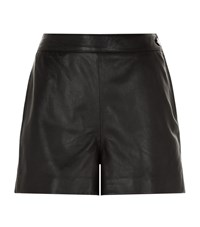 Reiss Pearl Leather Shorts Female Black