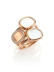 Roberto Coin Mother Of Pearl Diamond And 18K Rose Gold Three Row Ring