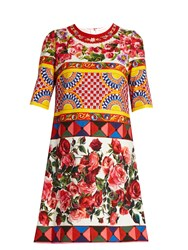Dolce And Gabbana Carretto Print Textured Cotton Blend Dress Pink Multi