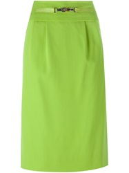 Celine Vintage Buckle Detail Pencil Skirt Green
