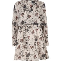 River Island Womens Cream Floral Print Smock Wrap Dress