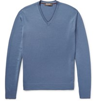 Loro Piana Contrast Tipped Wool Silk And Cashmere Blend Sweater Storm Blue