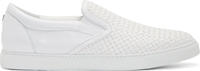 Dsquared White Woven Leather Slip On Sneakers