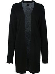 Rta Distressed Open Front Cardigan Black