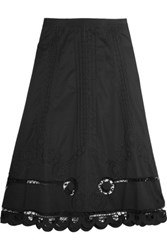 Temperley London Bellanca Embroidered Cotton Poplin Midi Skirt Black
