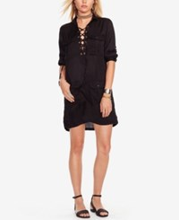 Denim And Supply Ralph Lauren Lace Up Dress Polo Black