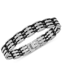 Macy's Link Bracelet In Tungsten And Black Resin