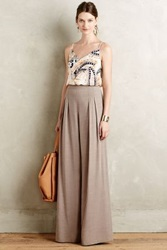 Anthropologie Pleated High Rise Wide Legs Light Grey