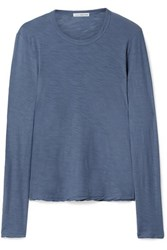 James Perse Slub Supima Cotton Jersey Top Blue