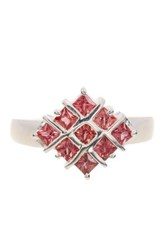 Olivia Leone Sterling Silver Square Cut Orange Sapphire Ring
