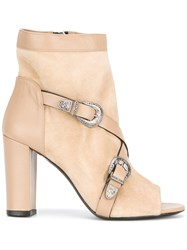 Allyn Open Toe Boots Nude Neutrals