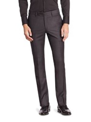 Emporio Armani Solid Wool Pants Iron Black