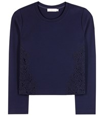 Tory Burch Lace Trimmed Jersey Sweater Blue