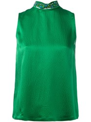L'autre Chose Embellished High Neck Sleeveless Top Women Silk Pvc Glass 42 Green
