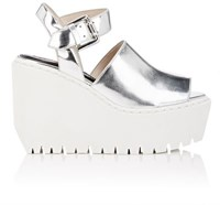 Opening Ceremony Women's Luna Specchio Leather Platform Wedge Sandals Silver