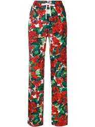 Dolce And Gabbana Floral Print Track Trousers Red