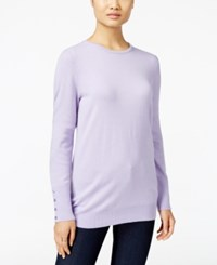 Jm Collection Crew Neck Button Cuff Sweater Only At Macy's Lilac Frost