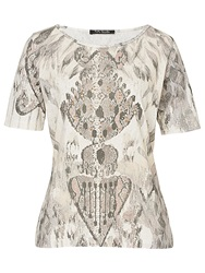 Betty Barclay Snake Print T Shirt Grey Beige