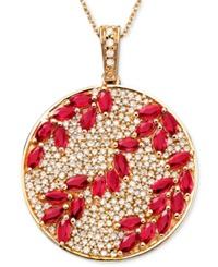 Effy Collection Rosa By Effy Ruby 3 1 3 Ct. T.W. And Diamond 9 10 Ct. T.W. Pendant In 14K Rose Gold