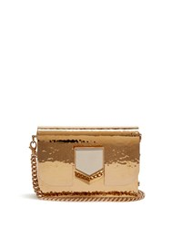 Jimmy Choo Lockett Minaudiere Hammered Metal Clutch Gold