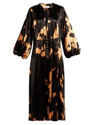 Marques Almeida Tie Dye Cotton Blend Satin Dress Black Multi